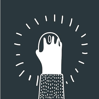 마우스를 사용하는 손으로 그린 그림의 벡터 만화 그림. 현대적인 스타일의 흑백 개념