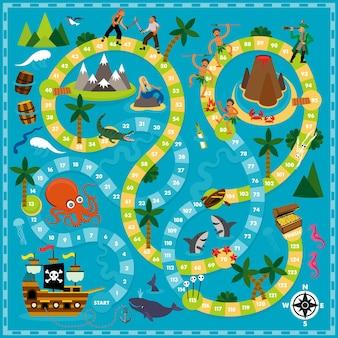 Векторные иллюстрации шаржа детей. пиратский шаблон настольной игры. для печати.
