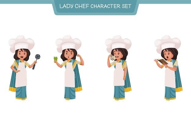 女性シェフのキャラクターセットのベクトル漫画イラスト