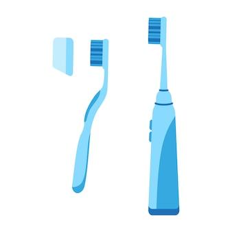 Векторные иллюстрации шаржа ручной и электрической зубной щетки, изолированные на белом фоне.