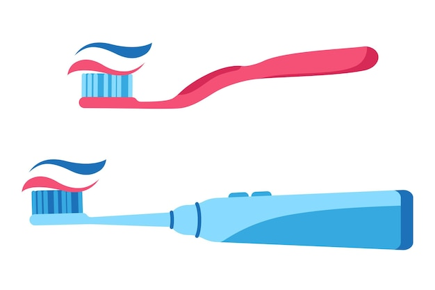 Векторные иллюстрации шаржа ручной и электрической зубной щетки с выжатой зубной пастой, изолированные на белом фоне.