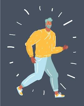 Векторные иллюстрации шаржа марафонского бега, взрослых бегунов на темном фоне.