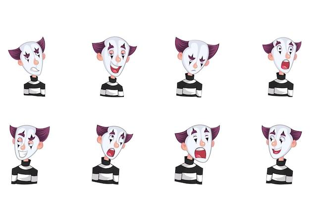 Векторные иллюстрации шаржа наклейки mime мальчик
