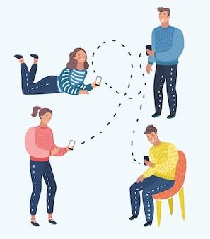 Векторные иллюстрации шаржа концепции мобильного мессенджера
