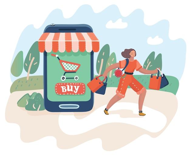온라인 쇼핑 및 소비 개념의 벡터 만화 그림. 웹 개념 전자 비즈니스 판매입니다. 여자는 구매와 함께 상점을 떠납니다. 스마트폰 시장.