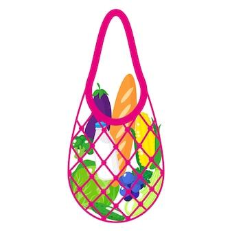 ピンクの食料品ストリングバッグまたは白い背景で隔離の健康食品とタートルメッシュバッグのベクトル漫画イラスト