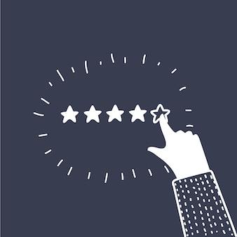 Векторные иллюстрации шаржа концепции положительной обратной связи. humhan руки дают пять звезд. оценка, звание, оценка. черный и белый контур современного графического стиля на темном фоне.