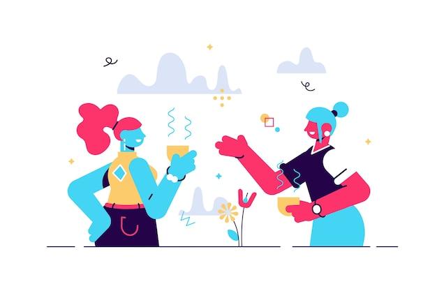ポジティブな2人の若い女性がお互いにコミュニケーションを取り、大学の休憩中に面白い話を笑うのベクトル漫画イラスト。楽しんでいる陽気な友達