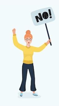 白い孤立した背景上の女性キャラクター暴動の暴動のベクトル漫画イラスト。女の子は抗議バナーを手に持っています。+