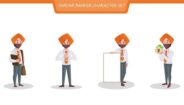 Sardar 은행가 문자 집합의 벡터 만화 그림