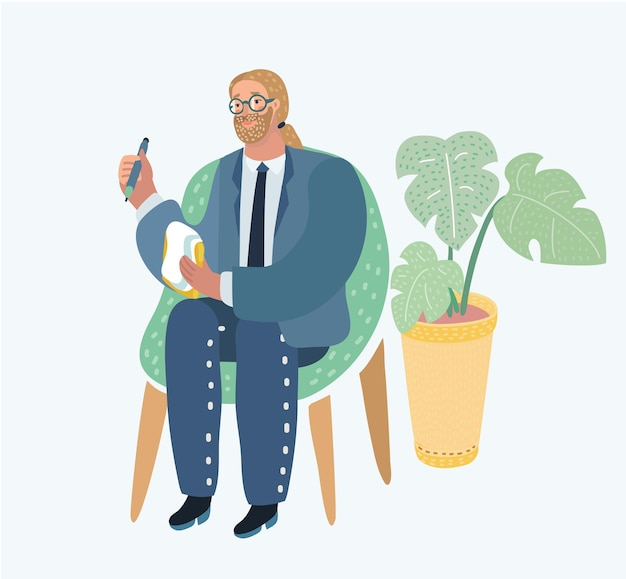 사무실에서 의자에 앉아 있는 남자의 스타일 그림의 벡터 만화 그림. 직업: 저널리스트, 컨설턴트, 심리학자, 정신과 의사, 심리 치료사, 분석가 등+