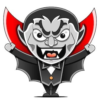 Векторные иллюстрации шаржа жуткого вампира, графа дракулы. отлично подходит для хэллоуина.