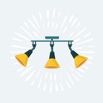 Векторные иллюстрации шаржа из трех наборов желтых прожекторных ламп для seling