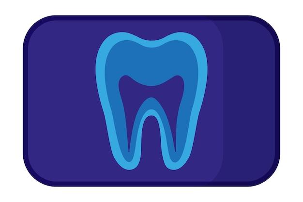白い背景で隔離の歯のx線のベクトル漫画イラスト。