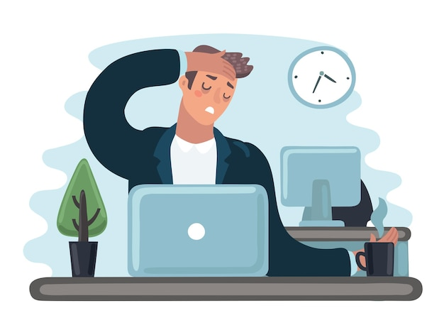 Tred 슬픈 바쁜 회사원 남자 캐릭터의 벡터 만화 그림. 사무원은 기분이 좋지 않은 노트북에서 일합니다. 그녀를 잡아. 두통, 독감, 피로, 스트레스, 우울증
