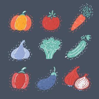 野菜のベクトル漫画イラスト。暗い背景に分離された食品。カボチャ、トマト、ブロッコリー、にんじん、にんにく、きゅうり、ピーマン、なす、玉ねぎ