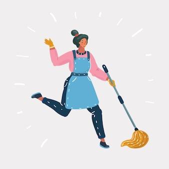 Векторные иллюстрации шаржа женщины, убирающей пол мокрой шваброй. вдохновленная девушка занимается домашним хозяйством. человек на белом фоне.