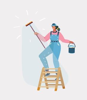 女性のベクトル漫画イラストは、白い背景にウィンドウを洗う