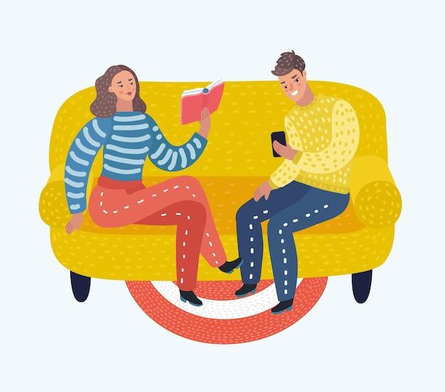 책을 읽고 소파에서 전화를 보는 젊은 부부의 벡터 만화 그림.