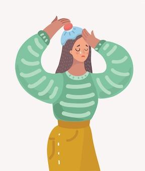 頭痛のある若い女性のベクトル漫画イラスト。頭にアイスパック。白い孤立した背景に悲しい女性文字を叫びます。