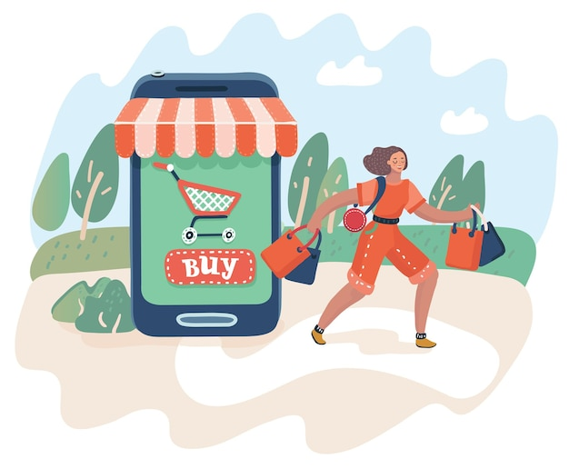 Vector cartoon illustration of online shopping and consumerism concept. web concept electronic business sales. woman leaves the store with the purchases. smartphone-market.
