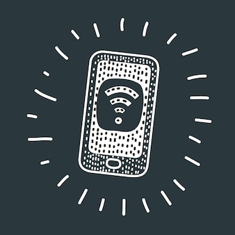 Vector cartoon illustration of phone with free wifi on the screen. icon on screen. black and white modern concept.