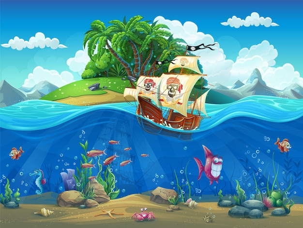 Vector cartoon illustration of a pirate ship on a tropical island in the ocean among fish, molluscs, corral, crabs on the sandy bottom.