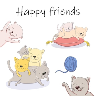 Vector cartoon illustration of playing kittens happy friends