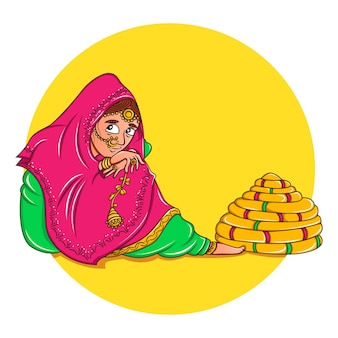 Vector cartoon illustration of punjabi bridal.