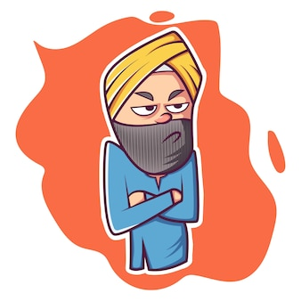 Vector cartoon illustration of punjabi man.