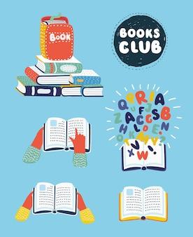 Vector cartoon illustration of set of books illustration