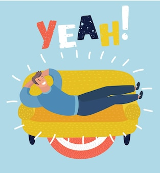 Vector cartoon illustration of simple cartoon of a happy man taking a nap on sofa. laying, relaxing, recharge, resting theme. yeah lettering.