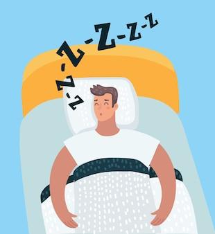 Vector cartoon illustration of sleeping man