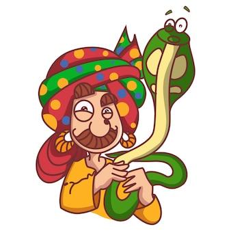 Vector cartoon illustration. snake charmer holding cobra on own neck .