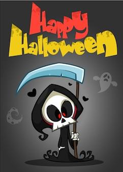 Vector cartoon illustration of spooky halloween death with scythe, skeleton character maskot