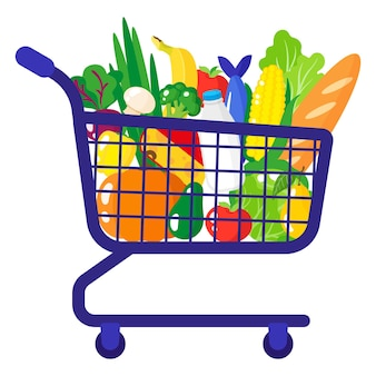 Vector cartoon illustration of supermarket grocery cart with healthy organic food isolated on white background