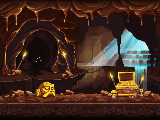 Vector cartoon illustration of the treasure cave with a waterfall and chest.