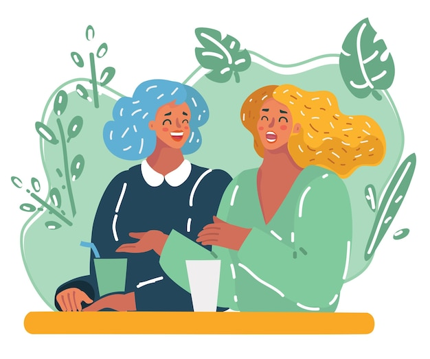 Vector cartoon illustration of two style girlfriends having drink together and relaxing in cafe. happy laughing woman together. friendship and conversation concept.