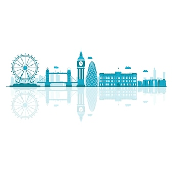 Vector cartoon illustration of uk skylines.