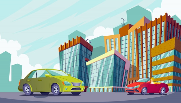 Vector cartoon illustration of an urban landscape with large modern buildings and cars.