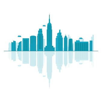 Vector cartoon illustration of usa skyline.