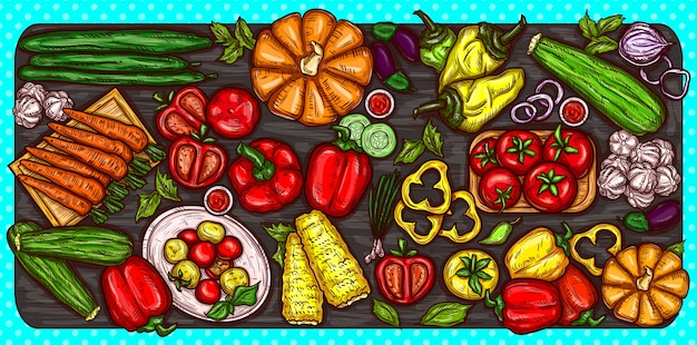 Vector cartoon illustration of various vegetables whole and sliced on a wooden background.