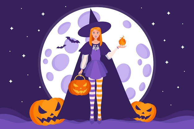Vector cartoon illustration of a witch and halloween jack-o-lantern pumpkins on a background of moon, stars and bats