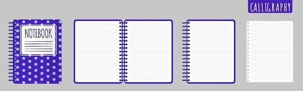 Векторные иллюстрации шаржа с каллиграфией тетрадь, открытая тетрадь и пустые листы на белом фоне.