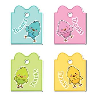 아이 선물 태그 세트 디자인, 감사 태그 및 인쇄용 스티커 세트에 적합한 다채로운 귀여운 아기 병아리와 벡터 만화 일러스트 레이션
