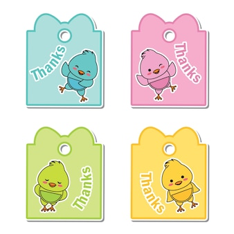 Vector cartoon illustration with colorful cute baby chicks suitable for kid gift tag set design, thanks tag, and printable sticker set