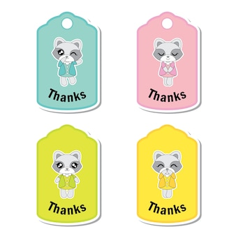 아이 선물 태그 세트 디자인, 감사 태그 및 인쇄용 스티커 세트에 적합한 다채로운 귀여운 너구리 소녀와 벡터 만화 일러스트 레이션