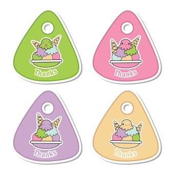 아이 선물 태그 세트 디자인, 감사 태그 및 인쇄용 스티커 세트에 적합한 다채로운 귀엽다 아이스크림 문자로 벡터 만화 일러스트 레이션