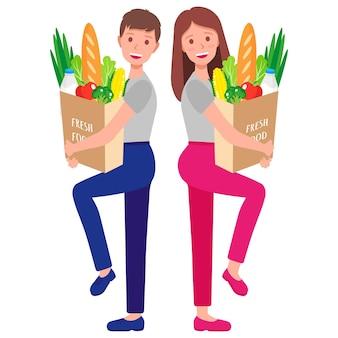 흰색 배경에 고립 된 건강 식품과 에코 종이 식료품 가방을 들고 부부와 벡터 만화 일러스트 레이 션