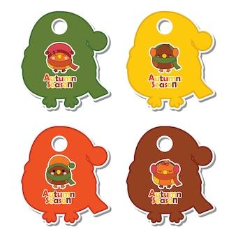 가을 선물 태그 세트 디자인, 감사 태그 및 인쇄용 스티커 세트에 적합한 귀여운 가을 조류와 벡터 만화 일러스트 레이션